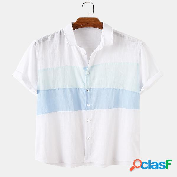 Masculino 100% algodão cor sólida patchwork casual camisa