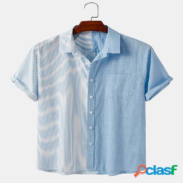Masculino 100% algodão listrado em patchwork casual designer camisa