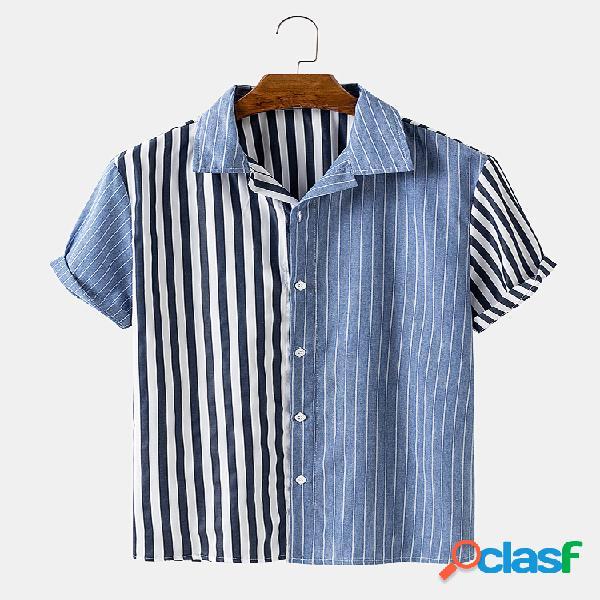 Patchwork de algodão listrado masculino praia lapela casual camisa