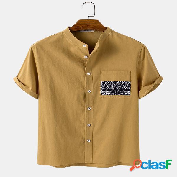 Tórax masculino étnico com estampa de bolso maciço casual 100% algodão