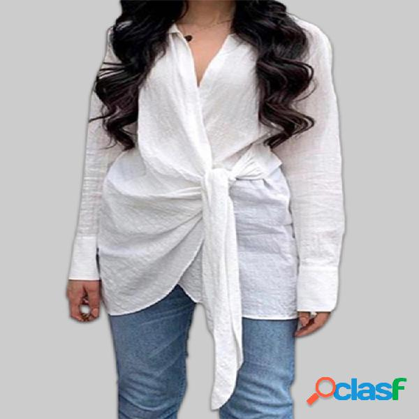 Envoltório nó frente cor sólida algodão plus blusa casual tamanho