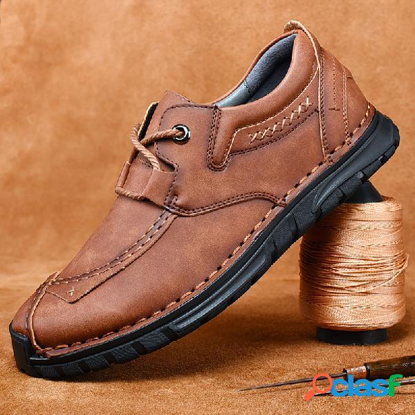 Homens couro genuíno antiderrapante retro soft sola sapatos casuais ao ar livre