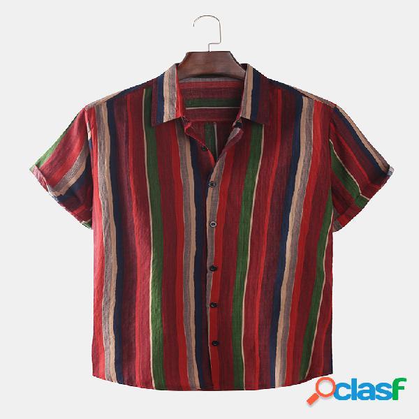 Mens colorful listrado impresso moda manga curta camisas soltas
