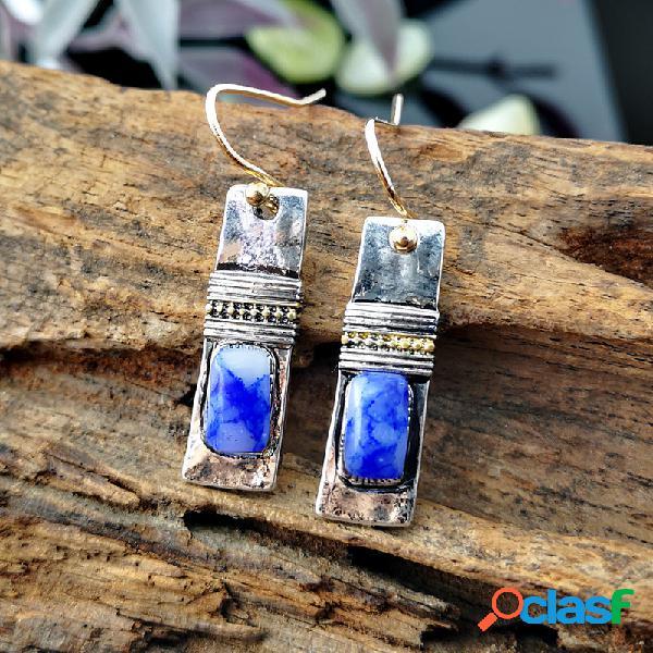 Pedra natural artesanal de metal geométrica do vintage pingente brincos mármore irregular azul padrão brincos