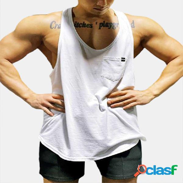 Soft colete de cor sólida de secagem rápida solto montagem sem mangas muscular atlético academia tops