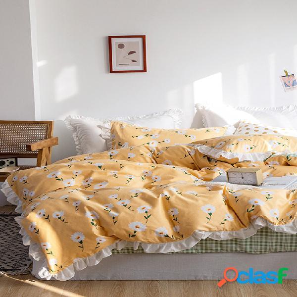 3/4 unidades algodão pastoral floral margarida algodão estilo princesa cobertura de edredão de algodão folhas de estilo coreano menina coração dormitório duplo