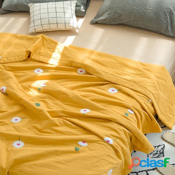Bordado pequeno edredão de verão de algodão lavado margarida algodão ins dormitório de aluno edredão fina de algodão