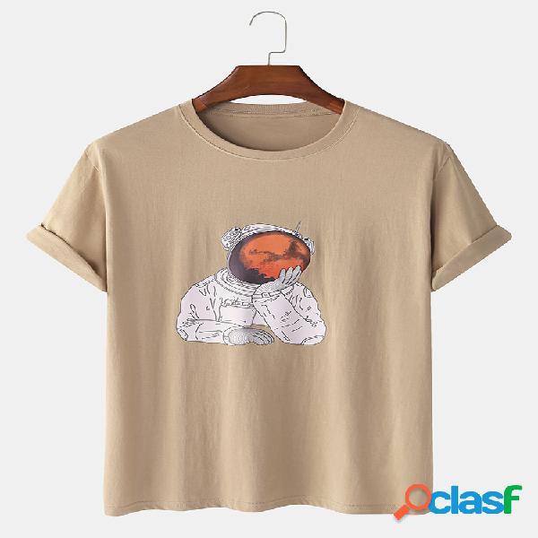 Mens 100% algodão engraçado astronauta pensador impresso manga curta gráfico t-shirt