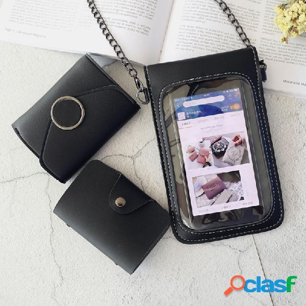 Mulheres tela de toque casual 3pcs telefone de cadeia sólida de 6,3 polegadas crossbody bolsa