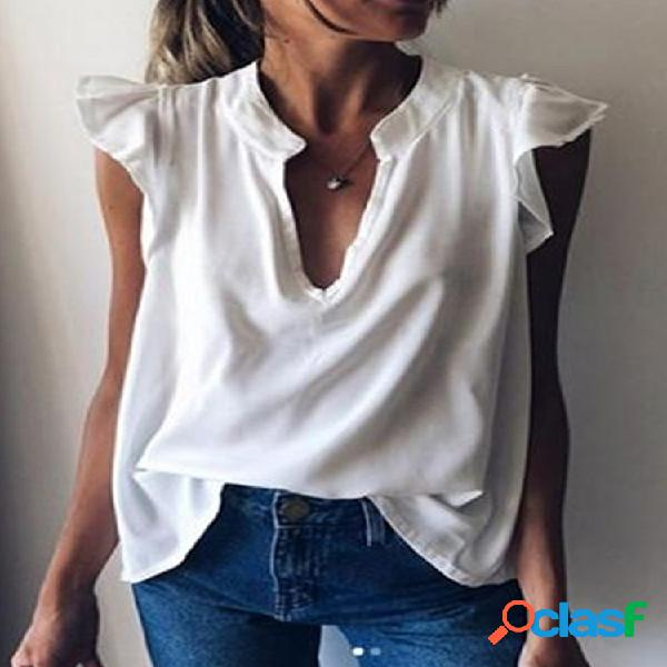 Blusa casual cor sólida sem mangas com decote em v para mulheres