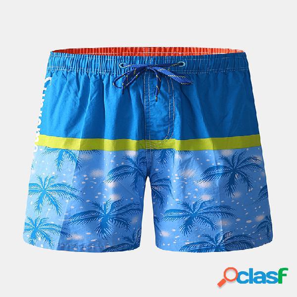 Calção mens color block tropical planta prancha de impressão com cordão de secagem rápida praia baú