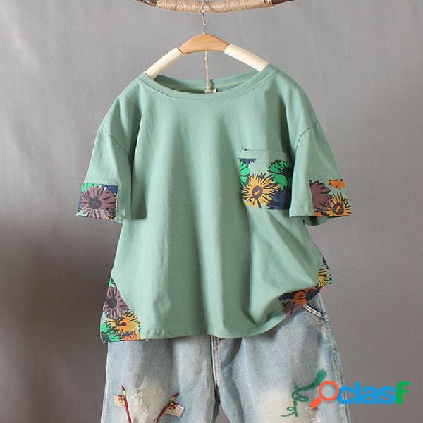 Floral imprimir patchwork manga curta o-pescoço t-shirt para as mulheres