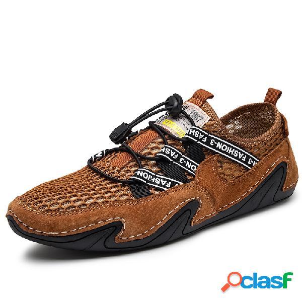 Malha de camurça de homens que emenda o laço elástico antiderrapante soft sapatos de condução ocasionais