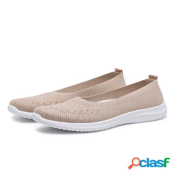 Malha feminina respirável fácil deslizamento em sapatos de caminhada rasa casual preguiçoso