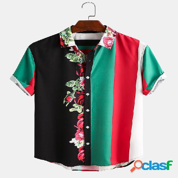 Masculino floral e colorido listrado patchwork casual bainha curva camisa