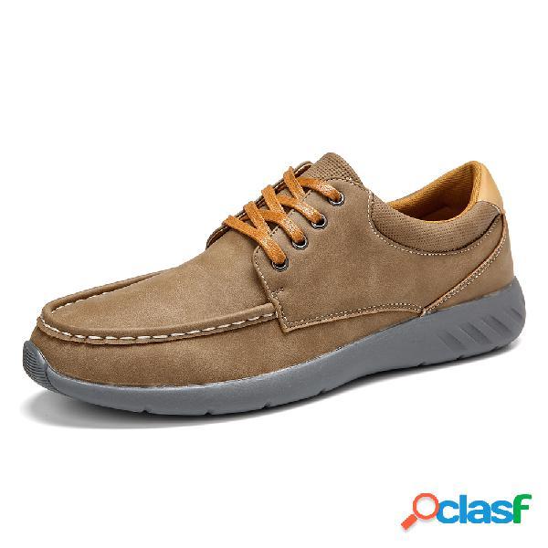 Menico homens de microfibra de couro soft sola antiderrapante sapatos casuais