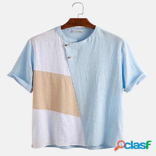 Mens 100% algodão designer contraste cor patchwork casual manga curta camiseta