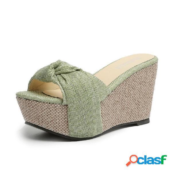 Mulheres senhora confortável plataforma de nó de pano cunhas chinelos