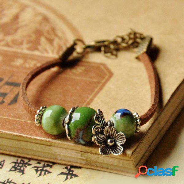 Tecido étnico à mão cerâmico pulseira de miçangas flor de metal geométrica cerâmico pulseira pingente
