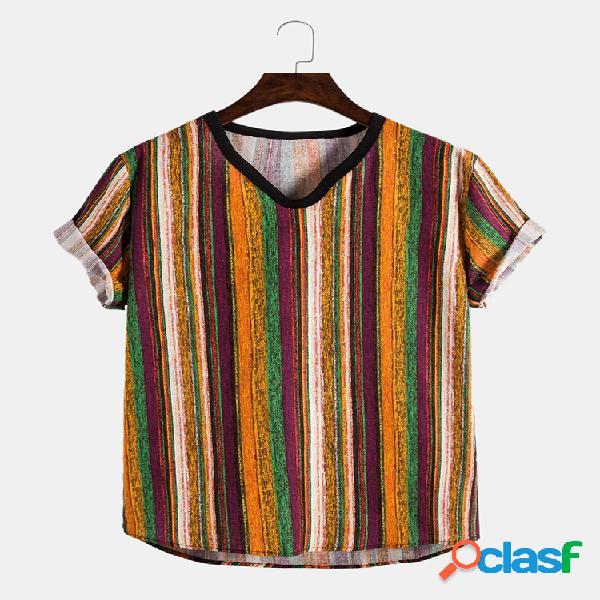 Camiseta masculina de algodão linho retro listras casual slim
