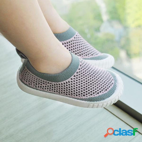 Crianças unisex tecido malha confortável respirável soft único deslizamento casual em sapatos