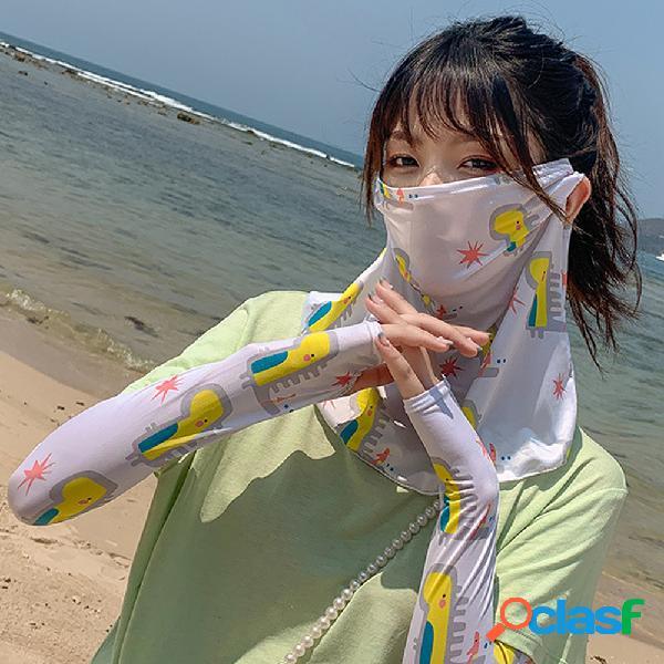 Daisy máscara manga de gelo anti-uv pendurada orelha pescoço máscara rosto de capa de margarida máscara véu de protetor solar de seda com gelo