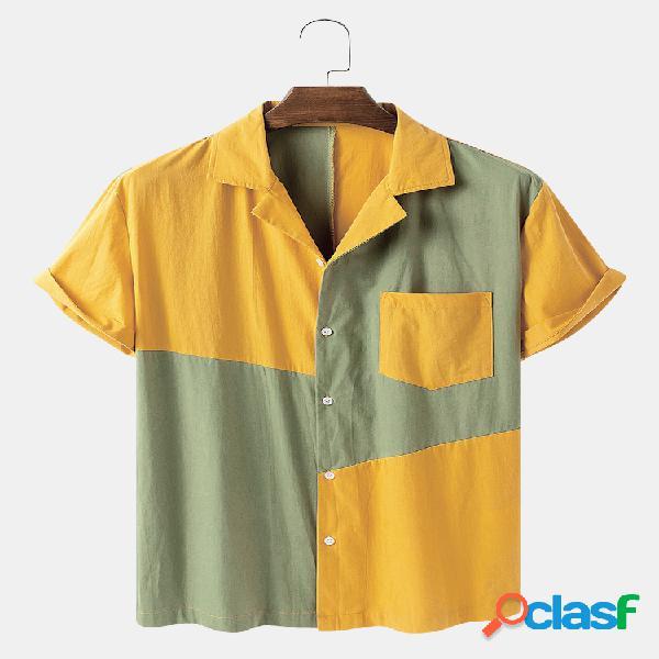 Homem 100% algodão irregular patchwork casual designer camisa