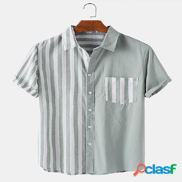 Patchwork listrado de algodão masculino casual lapela designer camisa