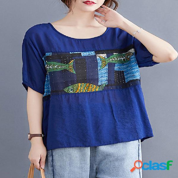 Peixe impresso patchwork meia manga o-pescoço t-shirt para mulheres