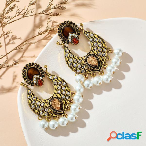 Vintage palace pearl tassel brincos diamante de gota de água de metal de temperamento geométrico brincos