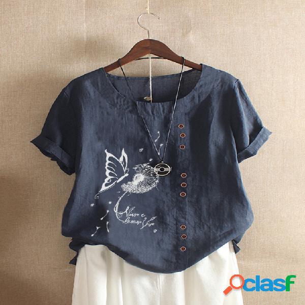 Camiseta de manga curta para mulheres com estampa de letras de flores de borboleta