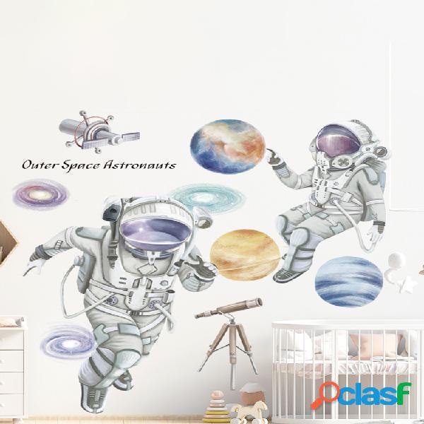 Espaço tema astronauta adesivo de parede dormitório sala de estar decoração de parede quarto autoadesivo decoração 3d