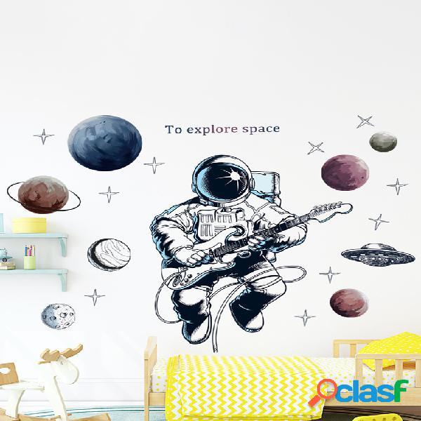 Espaço tema astronauta adesivo de parede dormitório sala decoração da parede auto-adesivo quarto 3d decoração do quarto dos miúdos decoração de casa