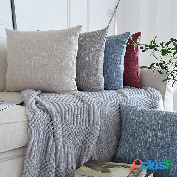 Fronha de algodão linho misturado decorativo quadrado capa de almofada capas de almofada decoração de casa para festa / natal 18 x 18 polegadas / 45 x 45 cm