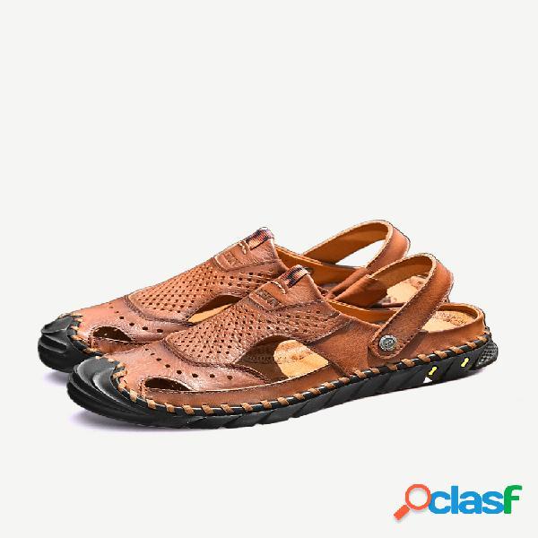 Homens couro genuíno costura manual antiderrapante soft sandálias de solado casuais para exteriores
