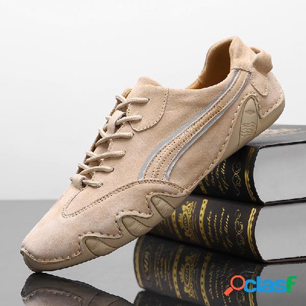 Homens genuien couro antiderrapante soft sola casual sapatos de condução