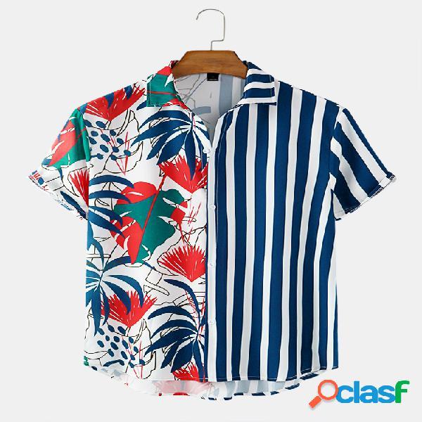 Mens printed floral stripe patchwork holiday casual camisas de manga curta