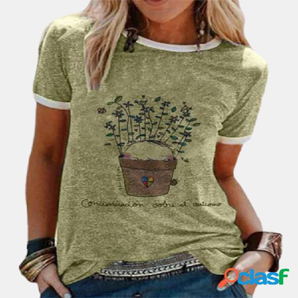 Planta carta impressão patchwork plus tamanho t-shirt
