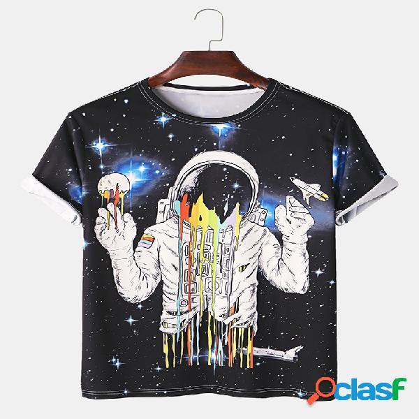 Astronauta estrelado do universo dos homens impresso t-shirt com gola