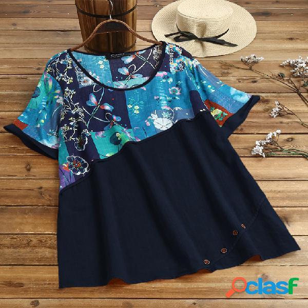 Bohemian floral print patchwork plus blusa de tamanho