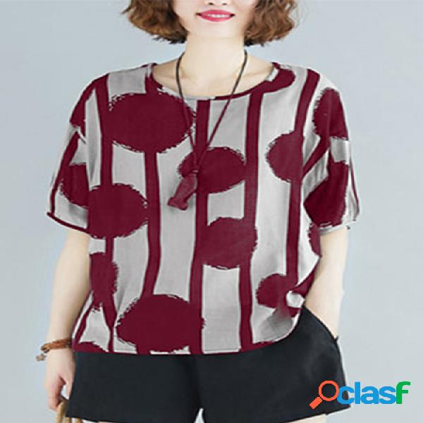Camiseta de manga curta com estampa de bolinhas plus