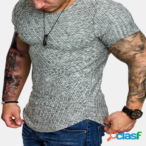 Camiseta esportiva masculina de manga curta com textura slim fit
