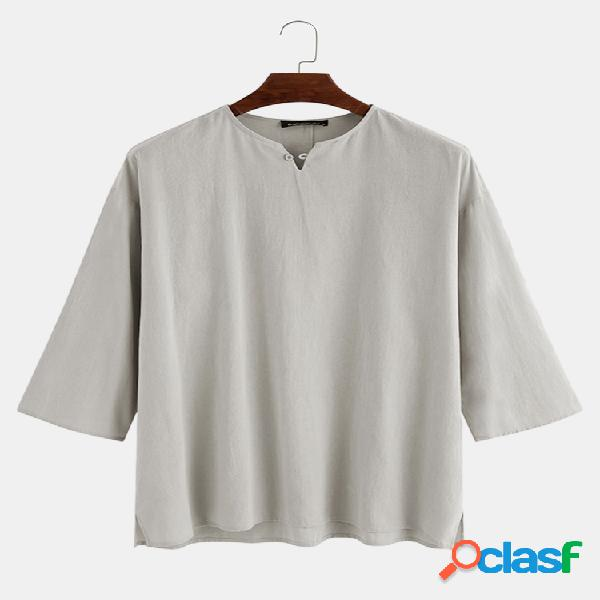 Camiseta masculina 100% algodão respirável oriental sólida gola solta 3/4