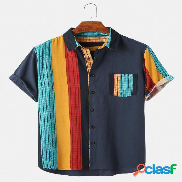 Bolso do peito de patchwork listrado irregular 100% algodão masculino design camisa