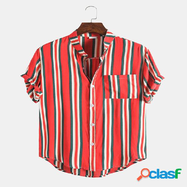 Mens design hit color striped summer holiday camisas respiráveis