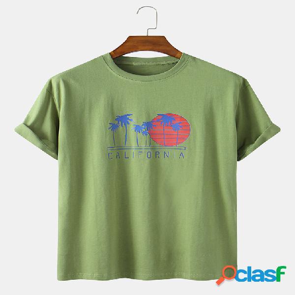 Sol de férias para homens e camisetas soltas com impressão em árvore coco