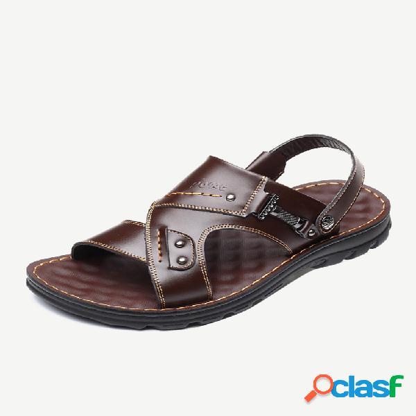Couro de microfibra masculino decoração de metal praia chinelo sandálias casuais