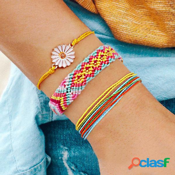 Margarida boêmia pingente pulseira multicamada flor geométrica cera artesanal fio pulseira trançada