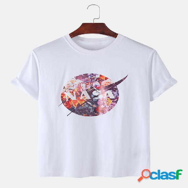 Mens lua astronauta floral impressão casual férias lapela t-shirt