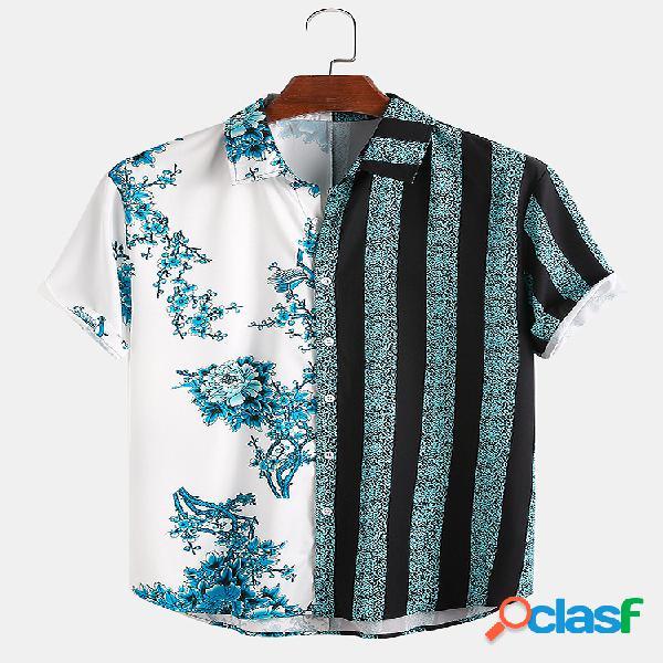 Masculino floral & listrado patchwork férias casual camisa